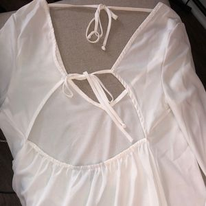Nasty Gal Tops - White Sheer Fitted & Flowy Tie Open Back Top